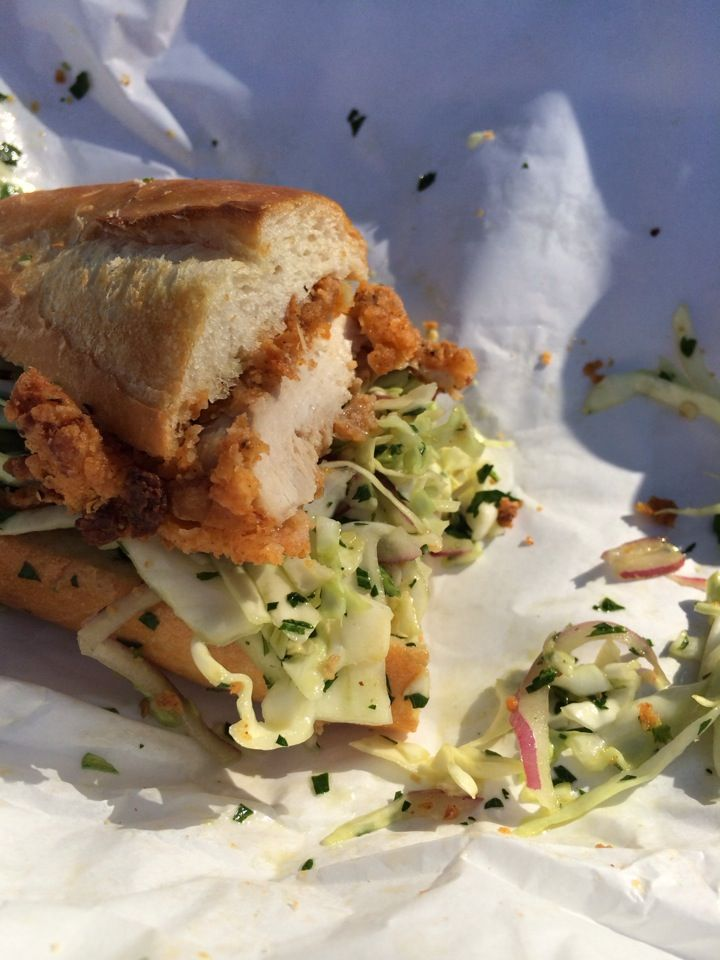 You should go back for a fried chicken sandwich - worth waiting in a line around the block. No tables, just ironing boards that function as a counter for devouring this calorie-worthy sandwich. Hold the jalapeños for the kiddos!