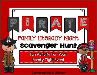Family Literacy Night- Pirate Themed Literacy Night Scavenger Hunt!  Fun Activity$!