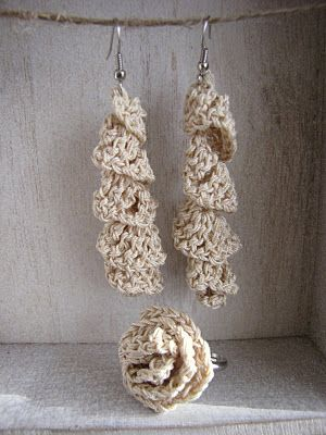 Crocheted earrings and ring....so cute! Free Pattern. (note to self; see Crochet notebook).