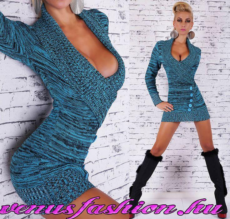 Divatos szexi kötött kék fekete női pulóver gomb díszítéssel - Venus fashion női ruha webáruház