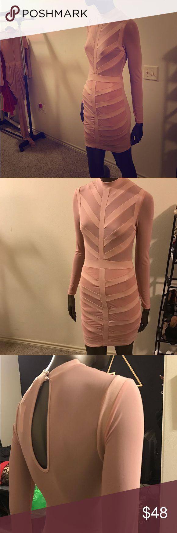 Salmon pink bandage dress Pink bandage dress WINDSOR Dresses Long Sleeve