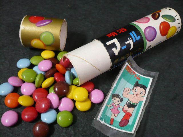 """明治マーブルチョコレート、おまけシール入り。☆Meiji's long seller """"Marble Chocolate"""" with free stickers inside. 1961, Japan."""