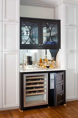 Modern Bar with Wine refrigerator, Built-in bookshelf, Crown molding, Ice maker, Hardwood floors, Mirror backsplash
