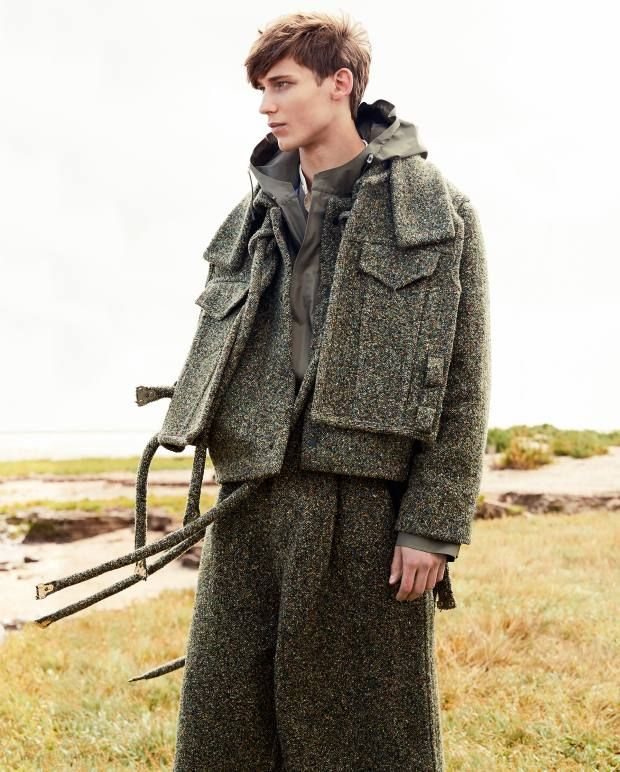 Craig Green wool coat, £952, and matching trousers, £756. Nanamica cotton Gore-Tex shell coat, £669. Kent & Curwen cotton shirt, £175