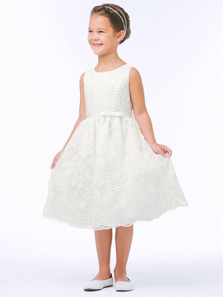 Off White Chrysanthemum Mesh w/ Scallop Dress