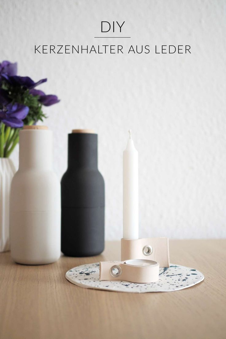 Scandi Look: DIY-Kerzenhalter aus Leder mit Tableltt aus Modelliermasse im Sprenkellook | Teelichthalter | Kerzenständer selber machen | DIY mit Leder | Deko selber machen | Scandi Trend | Scandinavian Design | Geschenke selber machen | selbstgemacht | paulsvera