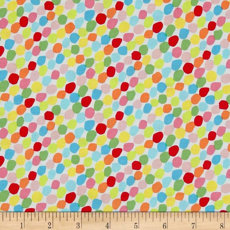 Chasing Waves Candy Spots Bright from @fabricdotcom  Designed by Red Brolly of Studio 37 Fabrics for Marcus Brothers, this cotton print fabric features colorful dots and is perfect for quilting, apparel and home decor accents. Colors include white, green, lime green, yellow, orange and shades of blue and pink.