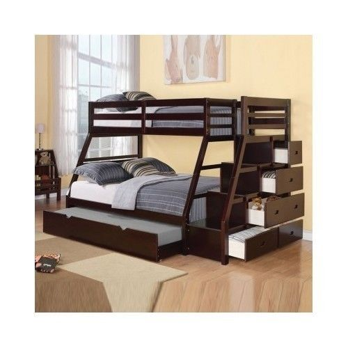 Adult bunk beds w trundle stairway chest twin over full for Furniture 123 bunk beds