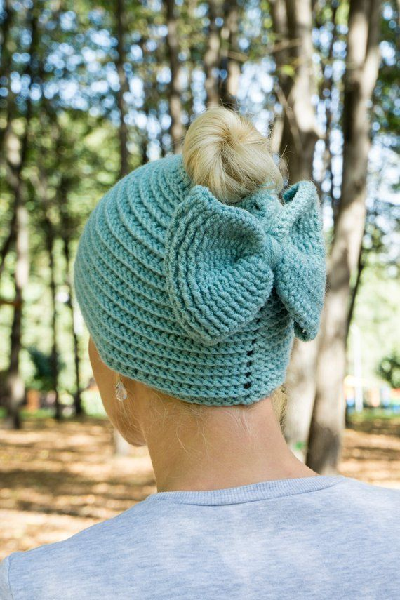 Knit messy bun beanie hat with ponytail hole and bow Wool  41aa3677807