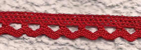 Pizzo a tombolo in cotone rosso con di ManifatturadiBreme su Etsy, €6.35