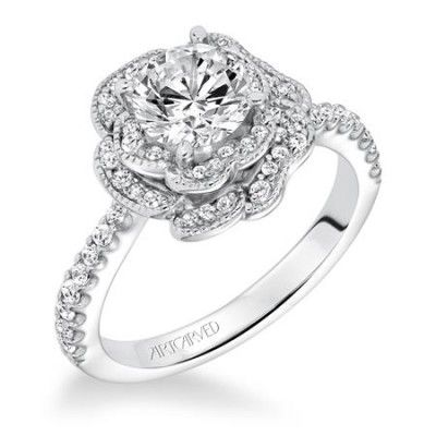 engagement ring trends for 2015 unique details like this floral halo design - Flower Wedding Rings