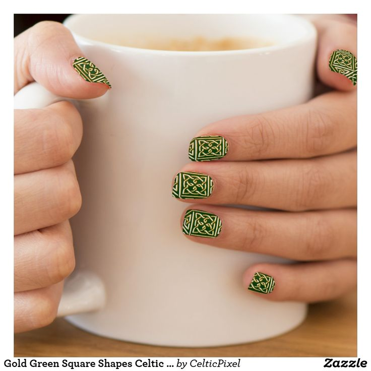 Gold Green Square Shapes Celtic Knotwork Pattern Minx Nail Wraps