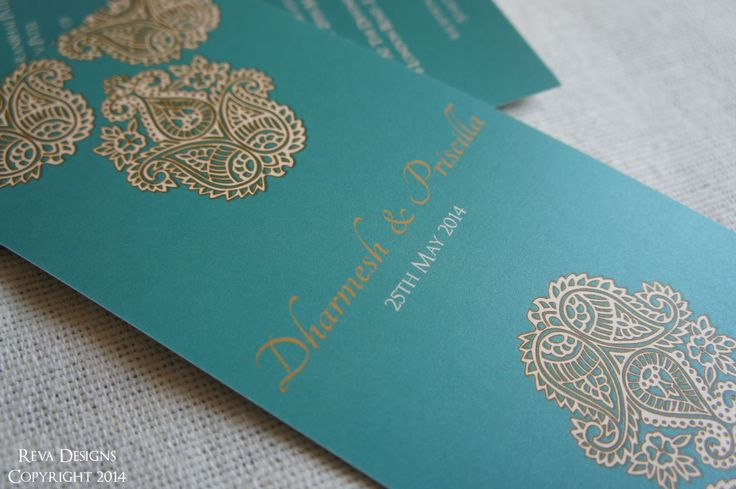 Teal Paisley Reception Invitation