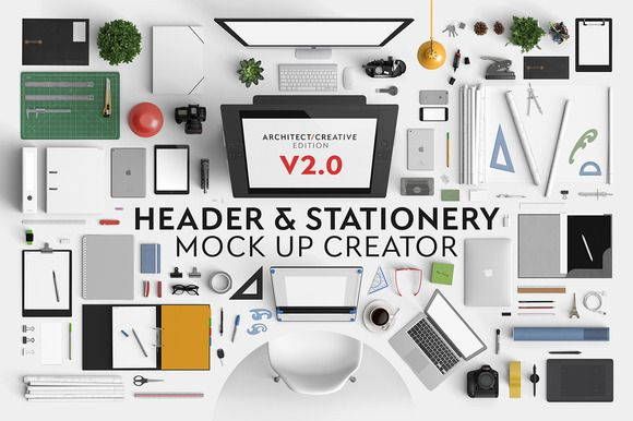 Header & Stationery Mock Up Creator by Qeaql on Creative Market