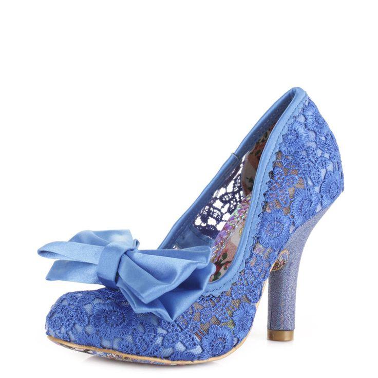 Womens irregular choice mal e blow blue lace high heel court shoes size