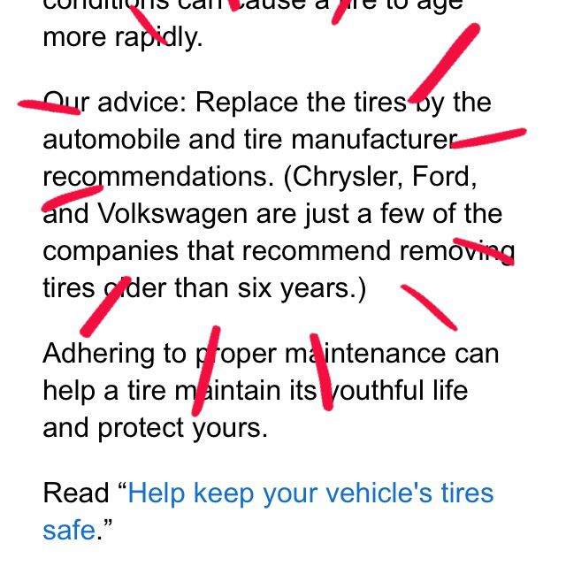 Tire age guideline; code on tire = wk/yr manufacture | Auto ...