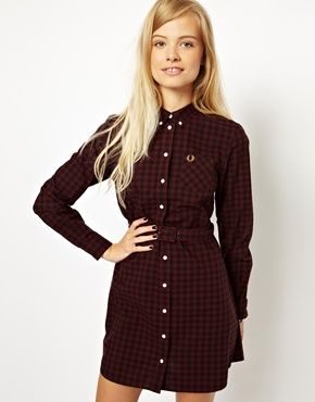 Fred Perry Gingham Belted Shirt Dress