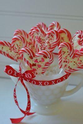 Valentines treats- leftover mini candycanes, chocolate & sprinkles.