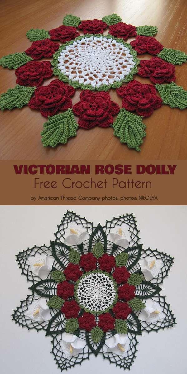 Vintage Crochet PATTERN tomake Doily Centerpiece Mat Filet Valentine Flower Rose