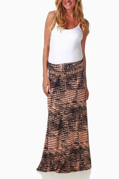 Pink Navy Sketch Print Maternity Maxi Skirt $32