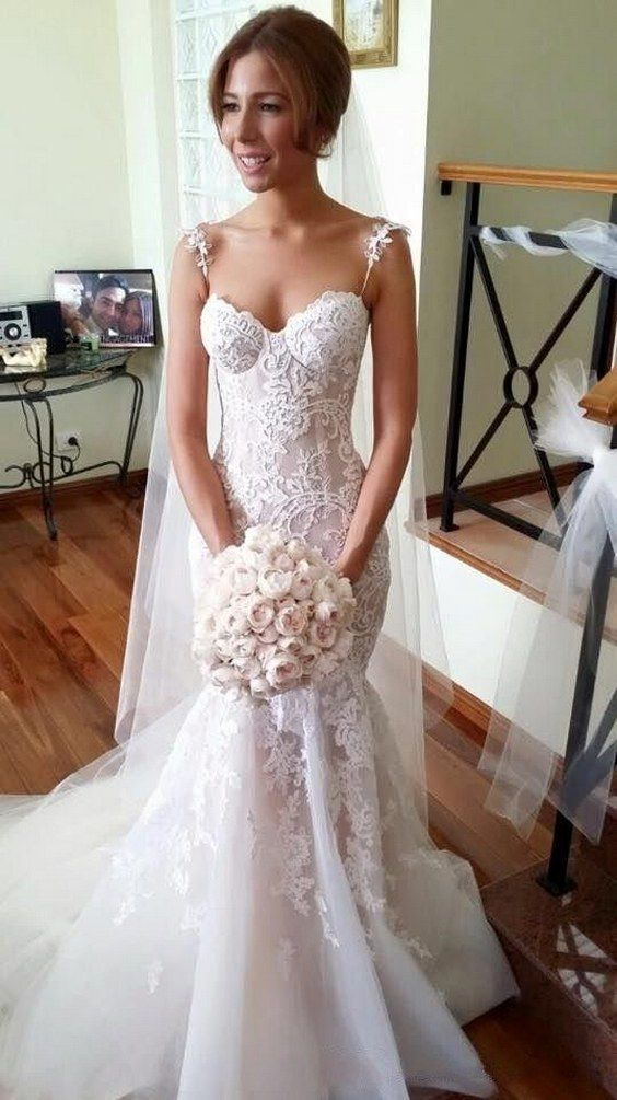 Mermaid Wedding Dresses Spaghettis Straps Lace Sexy Long Bridal Gowns / http://www.himisspuff.com/mermaid-wedding-dresses/12/