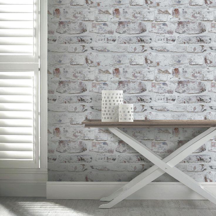 Arthouse VIP White Washed Brick Wallpaper - 671100