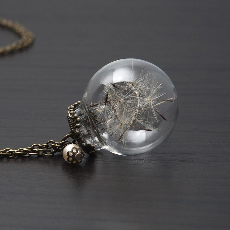 Sautoir GLOBE DE VERRE ET PISSENLIT 1, bulle de verre, aigrettes de pissenlit