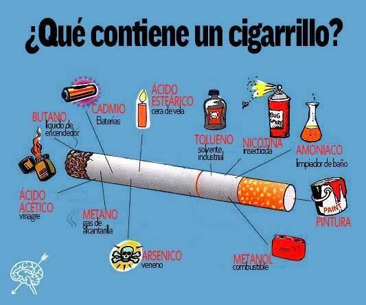 ¿Qué contiene un cigarro? #tabaco #salud #infografía