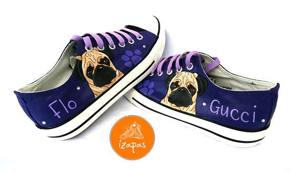Hand painted Pug sneakers  This listing is for one pair of custom, hand painted shoes. The listing images are of previous pairs Ive painted for a happy customer. Pug high tops and ballerina flats are also available in my shop!  Have the name of your dog painted on the shoe and a few rhinestones (just 2 or 3 each side) to add a bit of extra sparkle (included in the price!)...add your requirements in Notes to Seller upon purchasing. If you require lots of bling and sparkle with LOTS of…