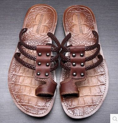NEWEST Genuine Leather Flip-flop Slippers Summer Gladiator Men Cross Sandals Beach Slippers Knitted T-tied Italian Mens Shoes 43