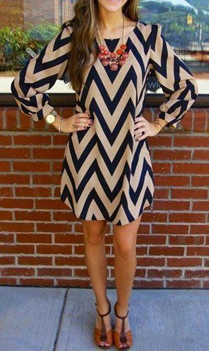 Chevron print dress with brown accessories for spring casual looks!