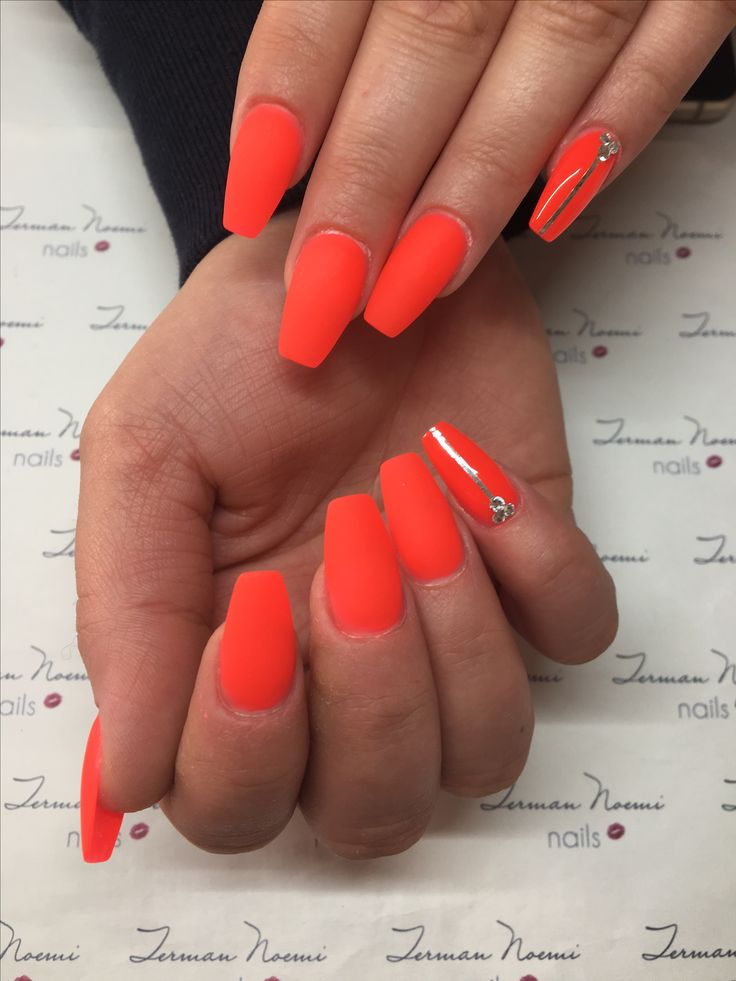 Neon nails, neon red, matte nails, swarovski, love nails! ❤️