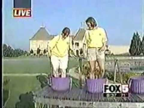 Grape Stomping Fail....Oh I think she is actually hurt there!