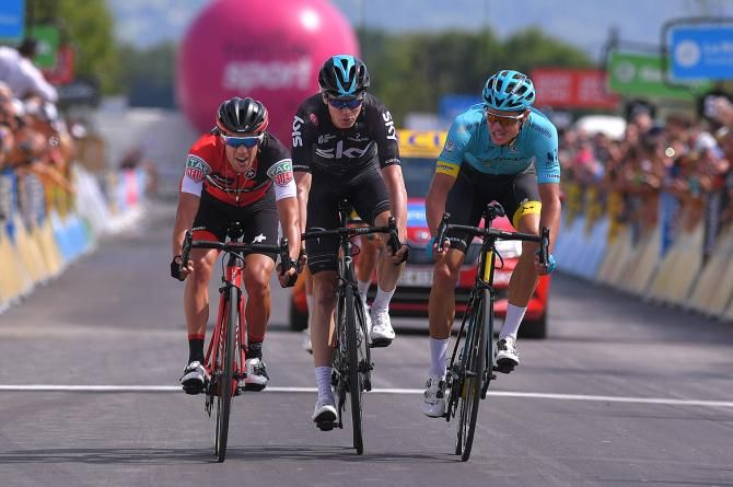 Richie Porte, Chris Froome and Jakob Fuglsang after a close finish on stage 6 of the Critérium du Dauphiné