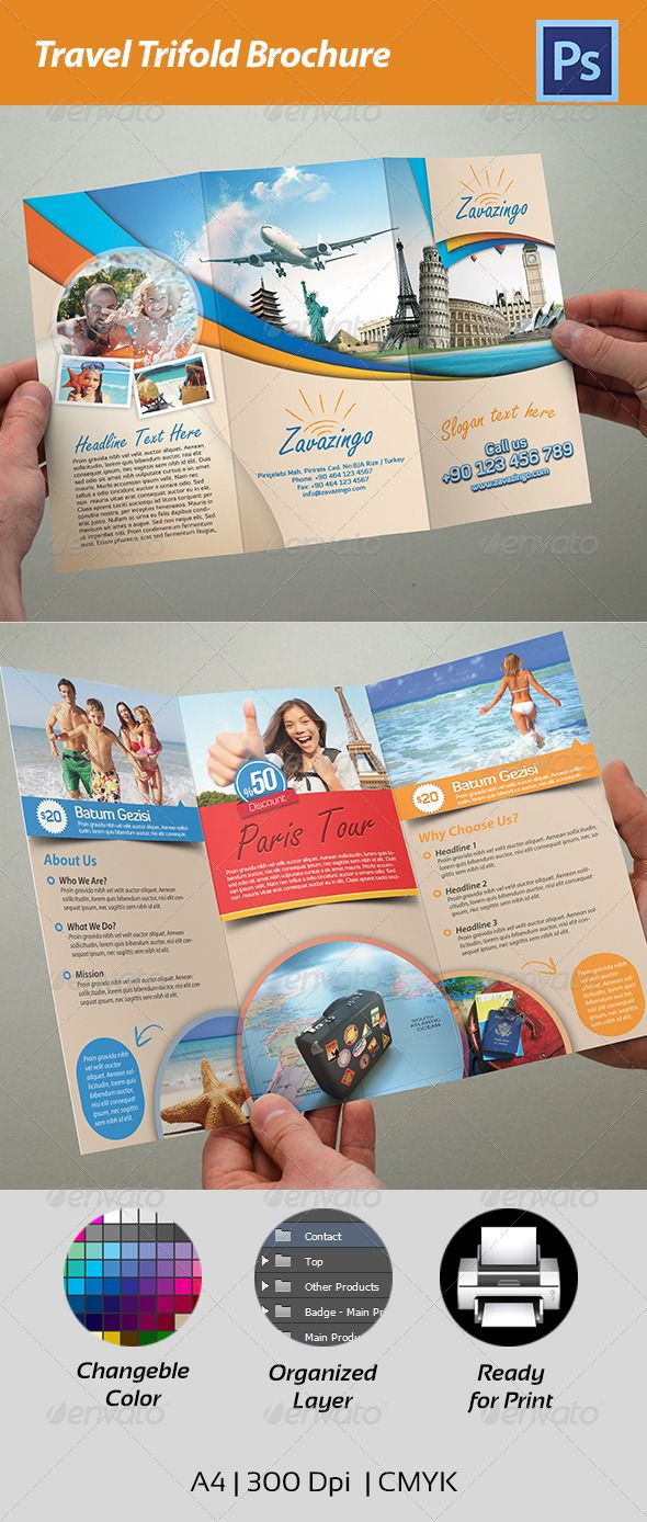 Travel Trifold Brochure  PSD Template • Download ➝ https://graphicriver.net/item/travel-trifold-brochure/4541847?ref=pxcr