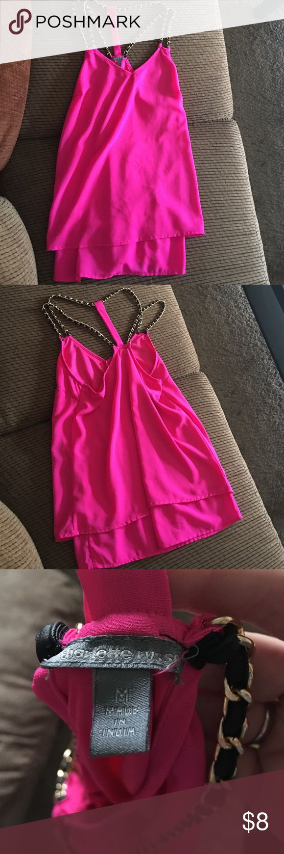 Hot pink shirt Hot pink shirt. Never worn. No tags, just been hanging in my closest. Brand: Charlotte Rouse Tops