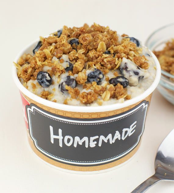 Blueberry Muffin Oatmeal (Fast Food Redux)   Team Breakfast