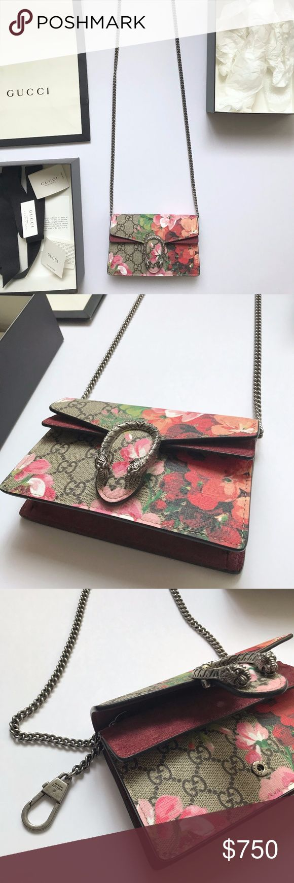 "Gucci Dionysus Authentic GG Bloom Supreme Mini Bag Beautiful Gucci Dionysus GG Blooms Super Mini Bag in like new condition This was purchased on vacation and kept in perfect condition.  Removable chain shoulder strap, 23.5"" drop Attached key ring that can attach to a separate bag Tiger head closure with crystals Silvertone hardware One outside flap pocket under flap Lined 6.5""W x 4""H x 1.5""D GG Supreme canvas, made using an earth-conscious process, with taupe suede detail Made in Italy Gucci…"