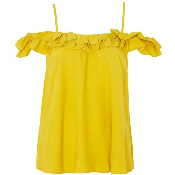 Topshop Cold Shoulder Sun Top (£12) ❤ liked on Polyvore featuring tops, mustard, strappy cami top, cami top, yellow cami top, open shoulder top and off the shoulder ruffle top
