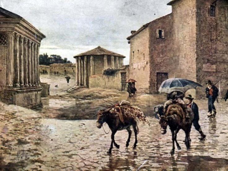 Tempio di Ercole Vincitore e Tempio di Portunno nell'acquarello di Ettore Roesler Franz