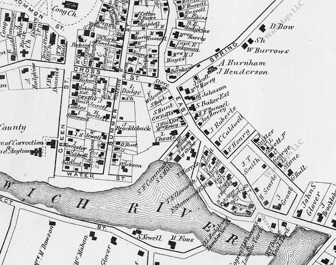 The 1872 Ipswich map shows  a section of Water Street missing. Between Summer Street and Hovey Street it was an unimproved dirt path.
