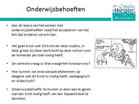 Training HGW: we besteden aandacht aan wat  onderwijsbehoeften inhoud