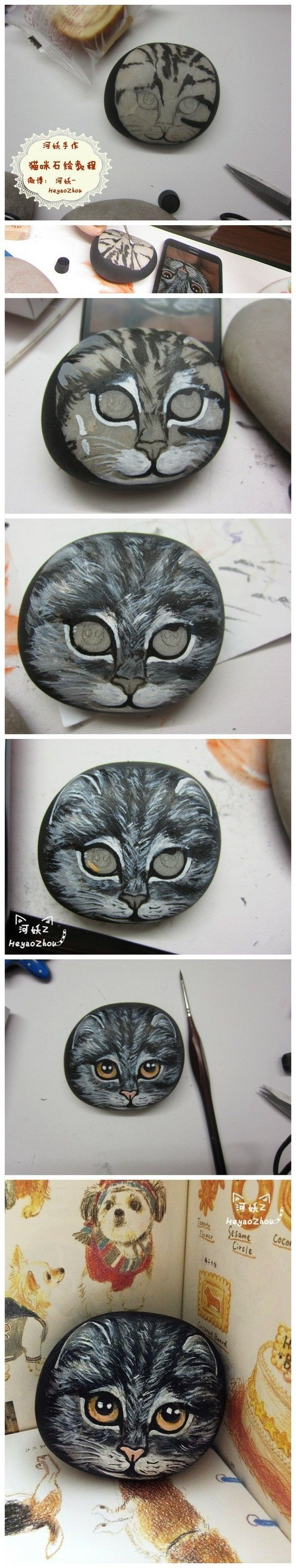 ?全教程 - rock painting cat tutorial (not in English)