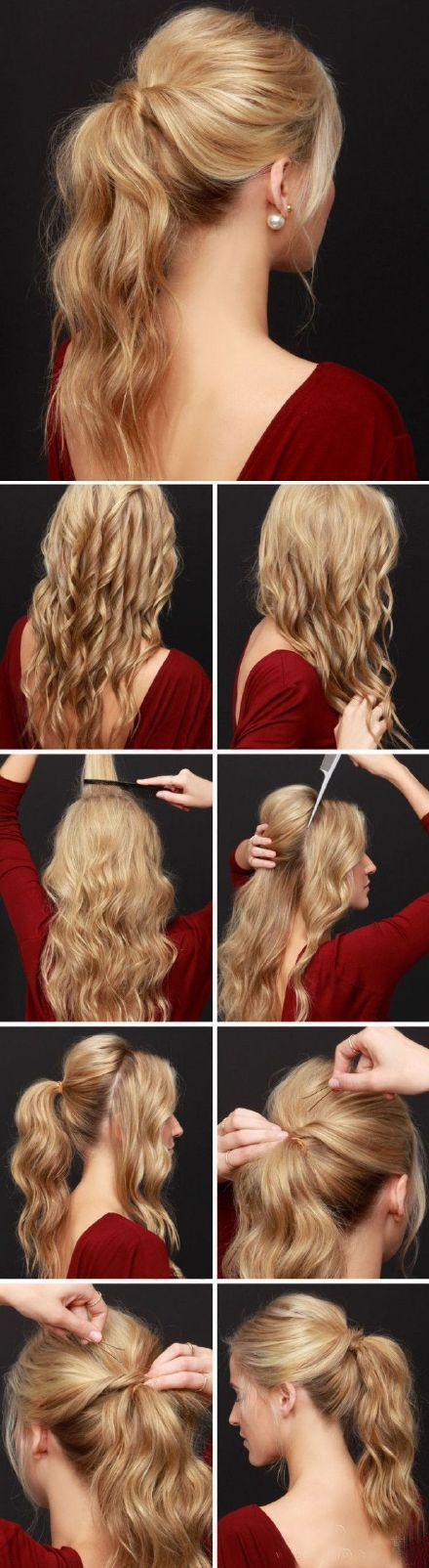 Romantic long curly hair ponytail style