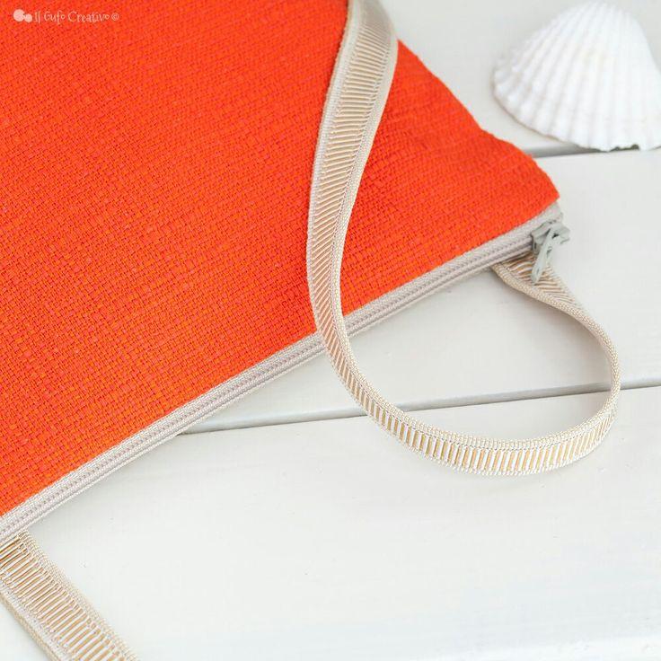 Coral fabric crossbody bag