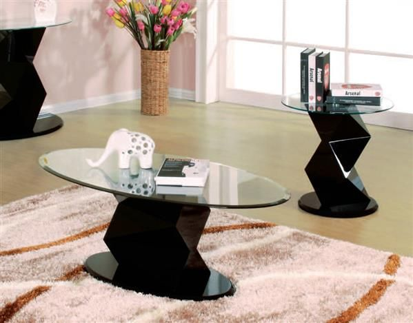 Taksha Black Wood Oval Glass Coffee Table Set