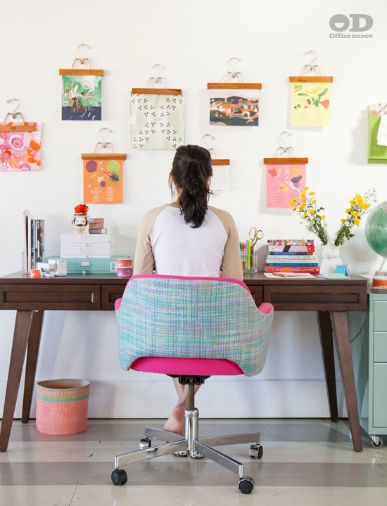 Whimsy Pop Office With Simple Desk, Vintage Pant Hangers To Display  Inspiration Prints, And Colorful Desk Accessories