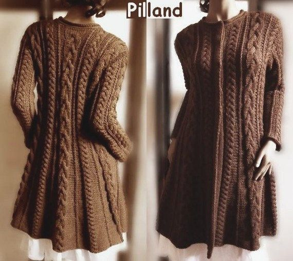 Cable Knit Coat Sweater Knitting Pattern Aran by PillandPattern