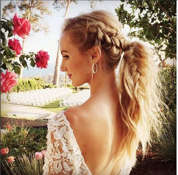 We heart this fancy plait/pony combo wedding hairstyle. Image: Instagram/@wedminau