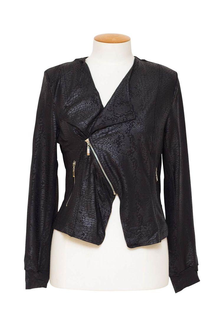 Magazine Designer Clothing sizes 10-26, Lemon Tree Snakeskin Black Jacket
